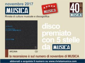 """Il disco di Luigi premiato tra i migliori del mese di novembre 2017 dalla prestigiosa rivista """"Musica""""."""